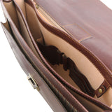 Internal Features View Of The Brown Mens Large Leather Briefcase