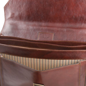 Opening Flap View Of The Brown Mens Large Leather Briefcase