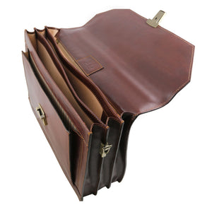 Top Angled View Of The Brown Mens Large Leather Briefcase