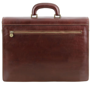 Rear View Of The Brown Mens Large Leather Briefcase