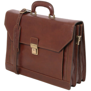 Angled And Shoulder Strap View Of The Brown Mens Large Leather Briefcase