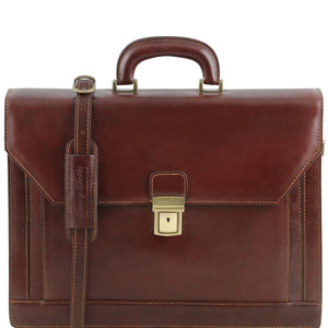 Front View Of The Brown Mens Large Leather Briefcase