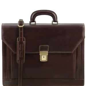 Front View Of The Dark Brown Mens Large Leather Briefcase