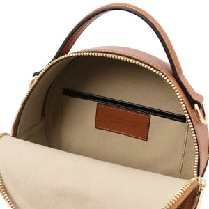 Internal Compartment View Of The Cognac Round Handbag
