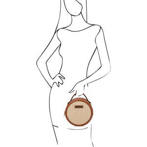 Woman Posing With The Cognac Round Handbag