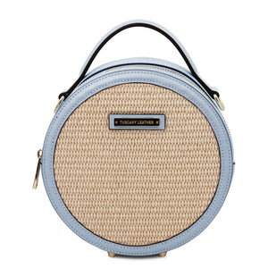 Front View Of The Light Blue Round Handbag