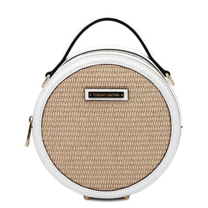Front View Of The White Round Handbag