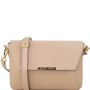Front View Of The Light Taupe Leather Clutch Handbag