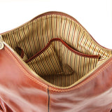 Internal Pockets View Of The Brown Leather Hobo Handbags