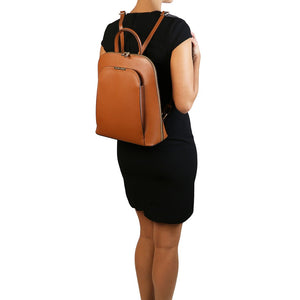 Women Posing With The Cognac Womens Leather Backpack