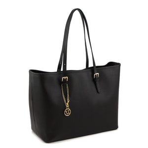 Right Angled View Of The Black Large Leather Shopping Bag