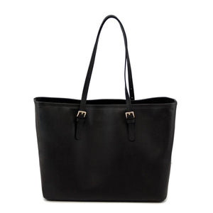 Rear View Of The Black Large Leather Shopping Bag