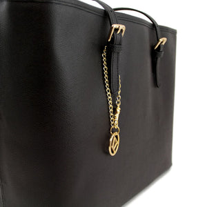 Close Up Features View Of The Black Large Leather Shopping Bag