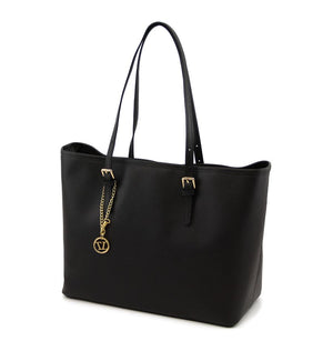 Left Angled View Of The Black Large Leather Shopping Bag