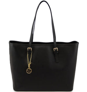 Front View Of The Black Large Leather Shopping Bag