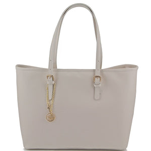 Front View Of The Ivory Large Leather Shopping Bag