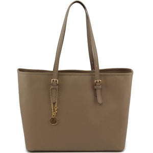 Front View Of The Light Taupe Large Leather Shopping Bag
