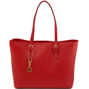 Front View Of The Red Large Leather Shopping Bag
