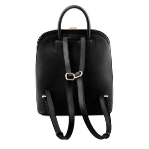 Rear View Of The Black Womens Leather Backpack