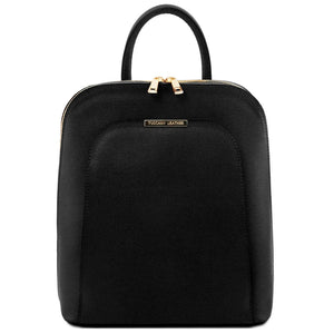 Front View Of The Black Womens Leather Backpack