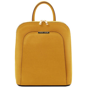 Front View Of The Mustard Womens Leather Backpack