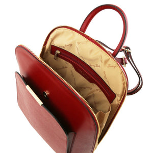 Internal Zip Pocket View Of The Red Womens Leather Backpack