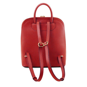 Rear View Of The Red Womens Leather Backpack