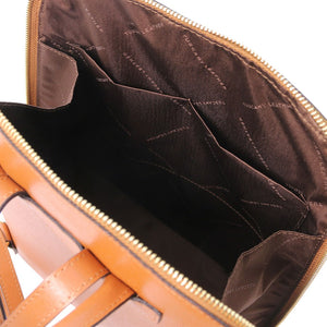 Internal Pockets View Of The Cognac Womens Leather Backpack