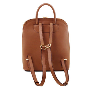 Rear View Of The Cognac Womens Leather Backpack