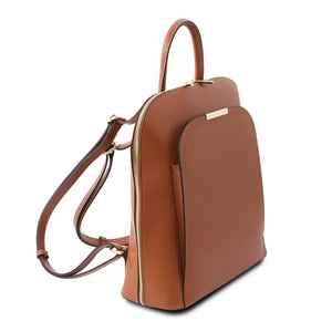 Angled View Of The Cognac Womens Leather Backpack