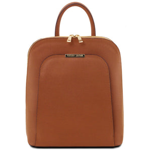 Front View Of The Cognac Womens Leather Backpack
