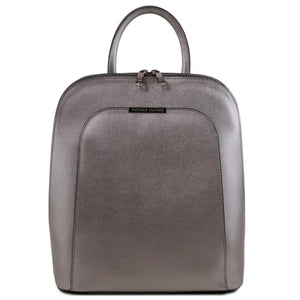 Front View Of The Iron Grey Womens Leather Backpack