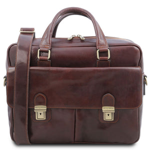 Front View Of The Brown Laptop Briefcase Bag