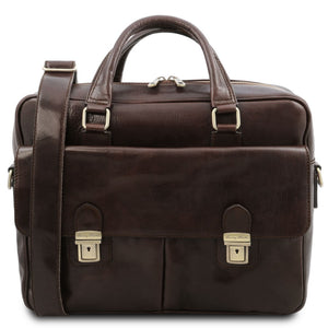 Front View Of The Dark Brown Laptop Briefcase Bag