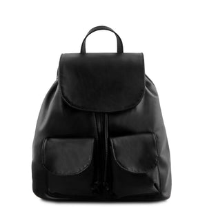 Front View Of The Black Small Leather Backpack