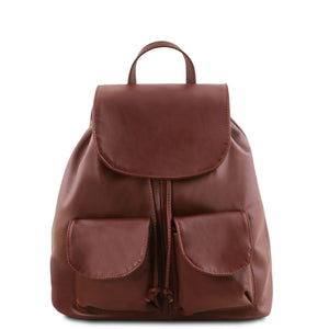 Front View Of The Brown Small Leather Backpack