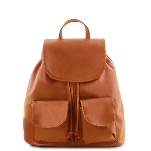 Front View Of The Cognac Small Leather Backpack
