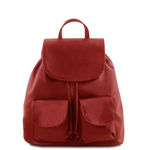 Front View Of The Red Small Leather Backpack