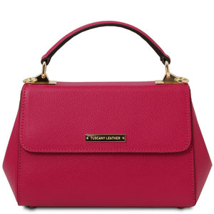 Front View Of The Fuchsia Small Leather Bag
