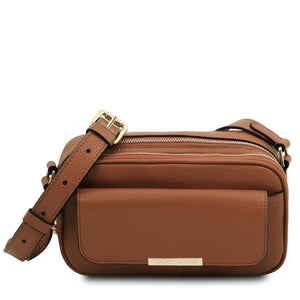 Front View Of The Cognac Small Leather Camera Bag