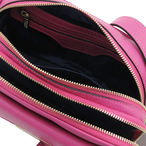 Internal Zip Pocket View Of The Fuchsia Small Leather Camera Bag