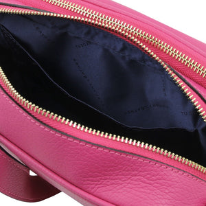 Internal Pocket View Of The Fuchsia Small Leather Camera Bag