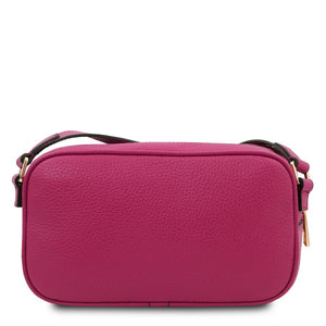 Rear View Of The Fuchsia Small Leather Camera Bag