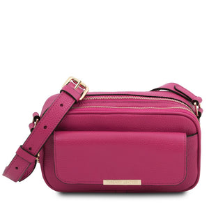 Front View Of The Fuchsia Small Leather Camera Bag