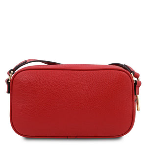 Rear View Of The Lipstick Red Small Leather Camera Bag