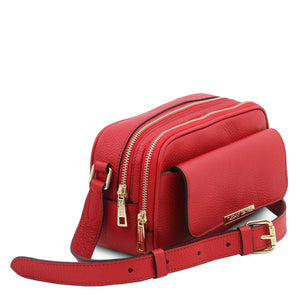 Angled View Of The Lipstick Red Small Leather Camera Bag