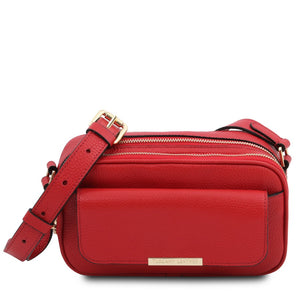 Front View Of The Lipstick Red Small Leather Camera Bag
