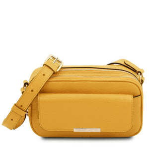 Front View Of The Yellow Small Leather Camera Bag