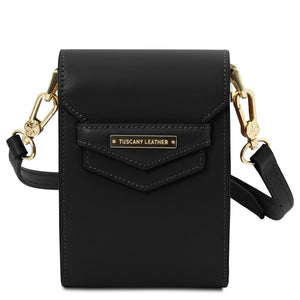 Front View Of The Black Small Leather Crossbody Bag