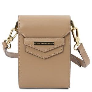Front View Of The Champagne Small Leather Crossbody Bag